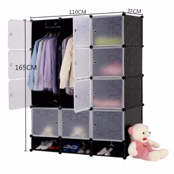 Tupper Cabinet 12 Cubes Doors DIY Storage Cabinet with Bottom Shoe Rack (Black) Price Philippines