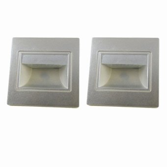 Harga MENGS® 2 Pcs 1.5W LED Wall Step Light 20x 2835 SMD LEDs LED Stair Lamp In Warm White Energy-Saving Light - Silver
