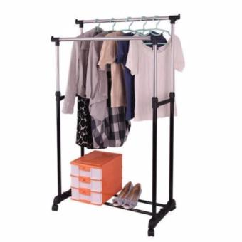 Harga Fordable Double Pole Stainless Steel Clothes Rack