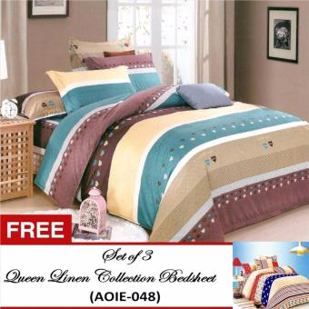 Queen Classic Linen Collection Bedsheet Set of 3(AOIE-054)Queen with Free Queen Classic Linen Collection Bedsheet Set of 3(AOIE-048)Queen Price Philippines