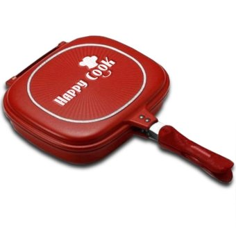 Harga GMY Happy Cook Aluminum Double-Sided Grill Pan 32cm (Red)