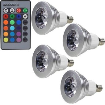 Harga MENGS® 4Pcs E14 3W LED RGB Light 16 Colour Changing SMD Spotlight Lamp Bulb With IR Remote Control - Intl