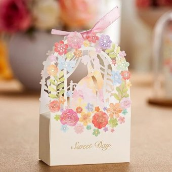 100Pcs Beautiful Wedding Favor Candy Box Wedding Party Favor Bags Ribbon Candy Gift Box - intl Price Philippines