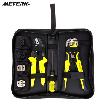 Harga Meterk Professional 4 In 1 Wire Crimpers Engineering Ratcheting Terminal Crimping Pliers Bootlace Ferrule Crimper Tool Cord End Terminals With Wire Stripper - intl