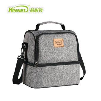 Harga Kinnet Thermal bag breast milk package Double Layers Insulated Cooler Bag Red Oxford Shoulder Bag For Lunch Large Lunch Bag (Heather Grey) - intl