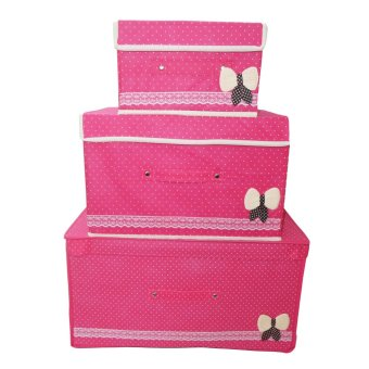 Harga 3 Set All Purpose Cotton Storage Box (Mei Red)