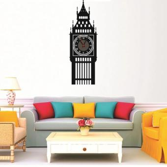 Harga DIY Big Ben 3D Mirror Surface Wall Clock Sticker