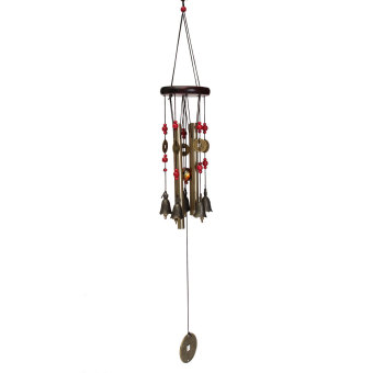 Harga Oriental Lucky Coin Metal Brass Tube Wind Chime Fengshui Chinese Bell Home Decor - intl