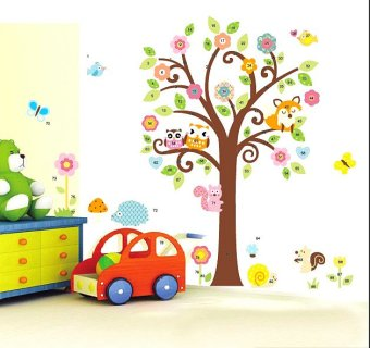 Harga Giant Peel & Stick Nursery Decal - Forest Animals & Flowers Tree Wall Sticker 115cm*132cm