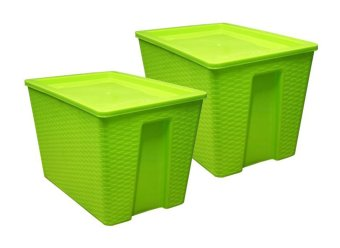 45 Liters 3j Square Woven Storage Box w/ Cover Set of Two Green Price Philippines