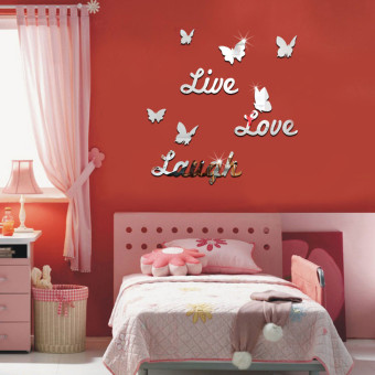 Harga 3D LIVE LOVE LAUGH Butterfly Mirror Wall Sticker Silver Acrylic Art Home Decal - intl