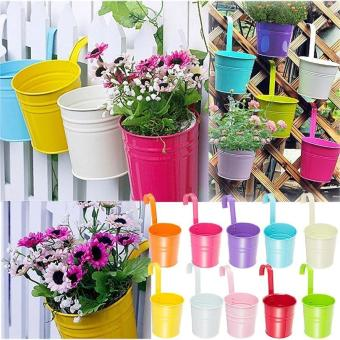 10pcs Garden Metal Iron Hanging Baskets Balcony Wall Hanging Plant Pot with Detachable Hanger / Colorful Home Decor - intl Price Philippines