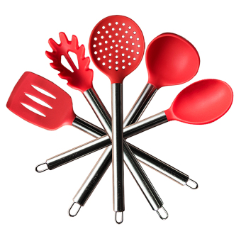 TTLIFE Silicone Cooking Utensil Set Stainless Steel 5 Pieces Premium Kitchen Set(red) Price Philippines