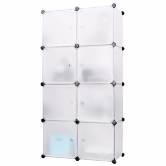 Portable Tupper Cabinet White Doors 8 Cubes DIY Storage Wardrobe (White) Price Philippines