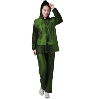 Harga Rain Suit Deligate Raincoat and Pants 100% Waterproof (Forest Green)