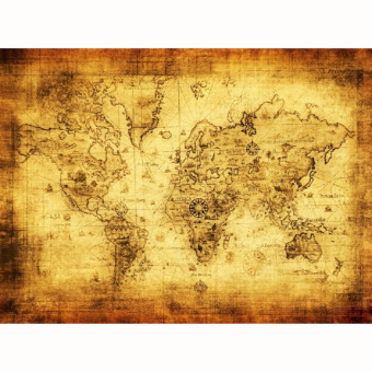 Harga Vintage Style Cloth Poster Globe Old World Nautical Map (Yellow)