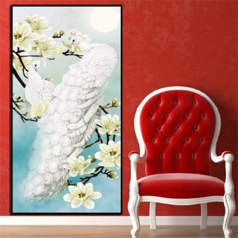Harga Rising Star White Peacock DIY 5D Diamond Painting Cross Stitch Full Drill Rhinestone Painting Decor