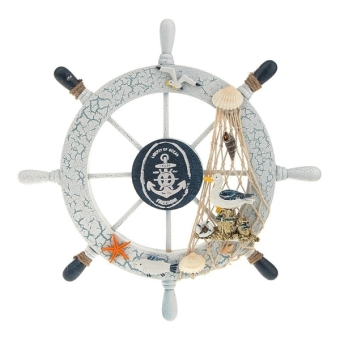Harga Nautical Beach Wooden Boat Ship Steering Wheel Fishing Net Shell Home Wall Decor (Seabird) - intl