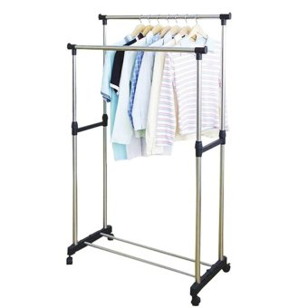 Harga DIY Double Pole Stainless Steel Clothes Rack
