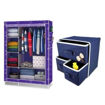 LOVE&HOME 105NT Fashion Storage Wardrobe (Purple Flower) With Foldable Woven Clothing Storage Box (Blue) Price Philippines