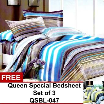Queen Special Linen Collection Bedsheet Set of 3(QSBL-046)Queen with free Queen Special Linen Collection Bedsheet Set of 3(QSBL-047)Queen Price Philippines