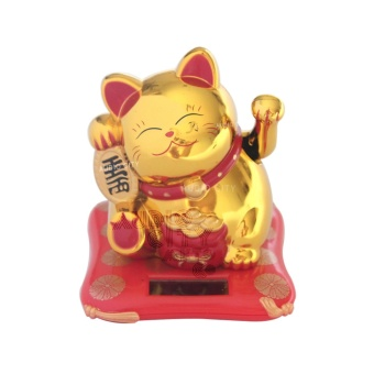 Harga Feng Shui MLY23002-G Maneki Neko Lucky Cat Solar Powered Medium Lucky Charm (Gold)
