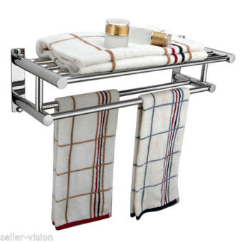 Double Chrome Wall Mounted Bathroom Towel Rail Holder Storage Rack Price Philippines