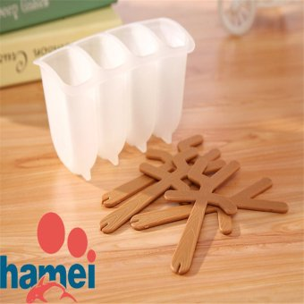 Harga 4-Holes DIY Ice Cream Mold Popsicles Mold (Random Color)