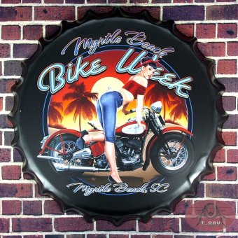 35 cm bike week Vintage Metal Iron Round beer bottle cap Vintage Tin Sign Bar pub home Wall Decor Retro Metal Art Poster RM-94 - Intl Price Philippines