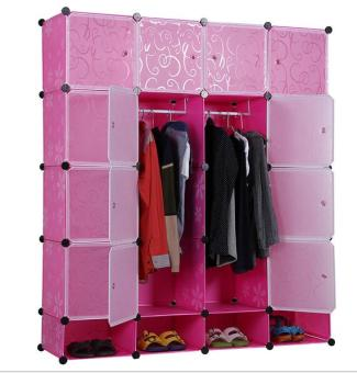 Quality Tupper Cabinet 16 Cubes White Stripes Doors Pink DIY Storage Cabinet with bottom Shoe Rack (Pink) Price Philippines