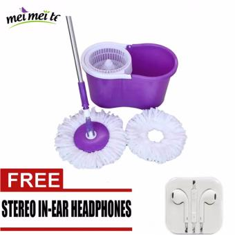 Harga MEI MEI Easy Magic Rotating Floor Mop Bucket 2 Head Microfiber Spinning (Purple