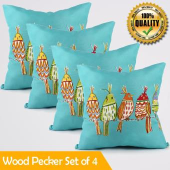 "Home Essentials Wood Pecker Canvas 16"" x 16"" Throw Pillow Case Set of 4 Price Philippines"