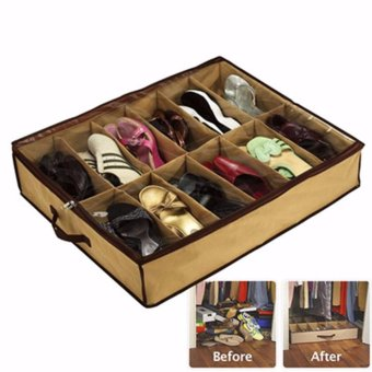 VeryGood Home essential 12Pairs Shoes Organizer Holder Under Bed Closet Storage Fabric Bag Price Philippines