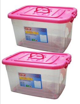 Hi Top 12 Liters Multi Storage Box Transparent Body Set of 2 Pink Price Philippines