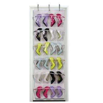 Harga Clear Collection 24-Pocket Over The Door Shoe Organizer Storage Hanging Bag White - intl