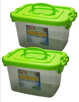 Hi Top 4 Liters Multi Storage Box Transparent Body Set of 2 Green Price Philippines