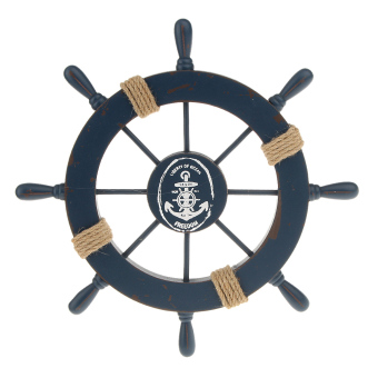 Harga BolehDeals Nautical Beach Wooden Boat Ship Steering Wheel Home Wall Decor Dark Blue (Intl) - intl