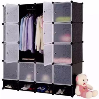 YG0001 Tupper Cabinet 16 Cubes Full Black DIY Wardrobe With Shoe Rack(Black) Price Philippines