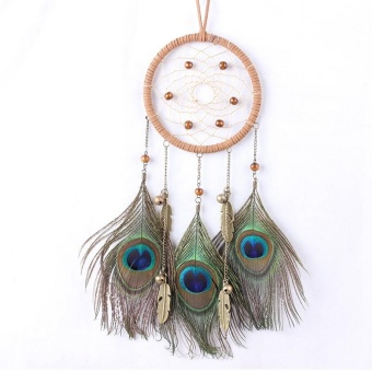 Dream Catcher Circular Net Peacock Feathers Wall Hanging Car Hanging Decor - intl Price Philippines