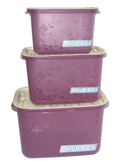 HJB 8,12,20 Liters Storage Box Set of 3 Violet Price Philippines