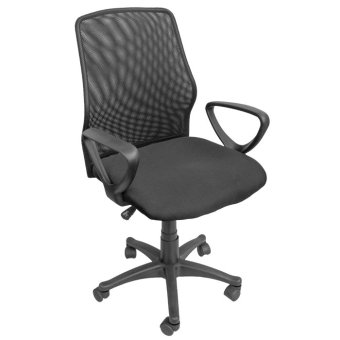 Harga Ergodynamic EMC-124BLK Mesh Office Chair Furniture with Armrest (Black)