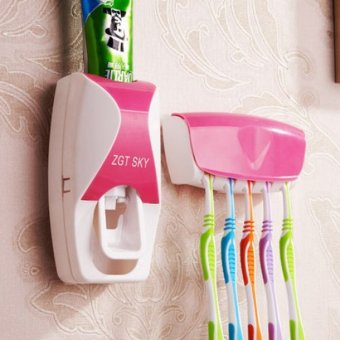 Harga G@Best New Design Hands Free Toothpaste Dispenser with ToothBrush Holder (Pink)