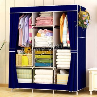 Harga Rising Star Fashion Simple Multifunction Cloth Wardrobe Storage Cabinets RS-77130 (Dark Blue)