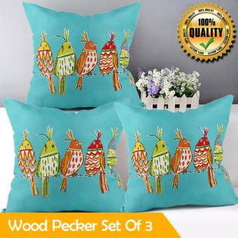 "Home Essentials Wood Pecker Canvas 16"" x 16"" Throw Pillow Case Set of 3 Price Philippines"
