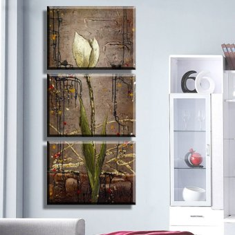 Oil style mangnolia flower print picture Painting On Canvas For Home Modern Decoration 3 Panel Wall Art No Framed (No frame) Price Philippines