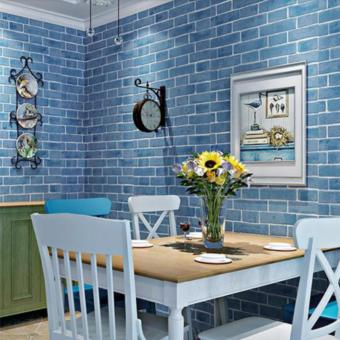 OrangeTag 3D Blue Brick Adhesive Wallpaper / Wall Paper (10 meters) Price Philippines