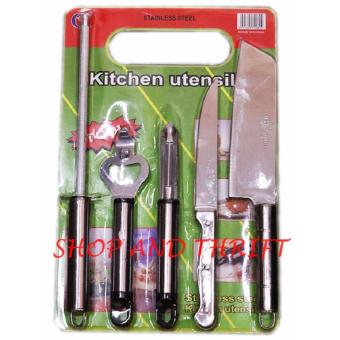 Harga SHOP AND THRIFT Kitchen Tools Good Quality Stainless Steel Knives with Chopping Board