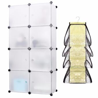 Keimav Portable Tupper Cabinet White Doors 8 Cubes DIY Storage Wardrobe (White) with Must Have 8 Pocket Hanging Bag Organizer (Clear) Price Philippines