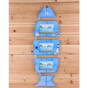 Harga BolehDeals Retro Wall Door Hanging Nautical Wooden Fish Photo Frame Picture Album Decor