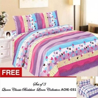 Queen Classic Linen Collection Bedsheet Set of 3 (AOIE-005)Queen with Free Queen Classic Linen Collection Bedsheet Set of 3 (AOIE-031)Queen Price Philippines